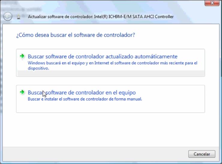 Ventana Actualizar software del controlador