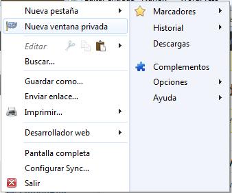 Menú Mozilla Firefox opción Nueva ventana privada