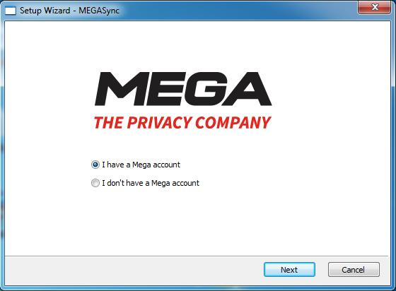 Pantalla inicial de configuración de MegaSync