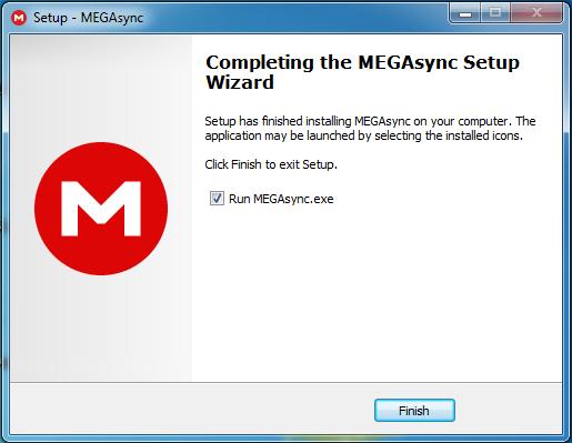 Última pantalla de la instalación de MegaSync